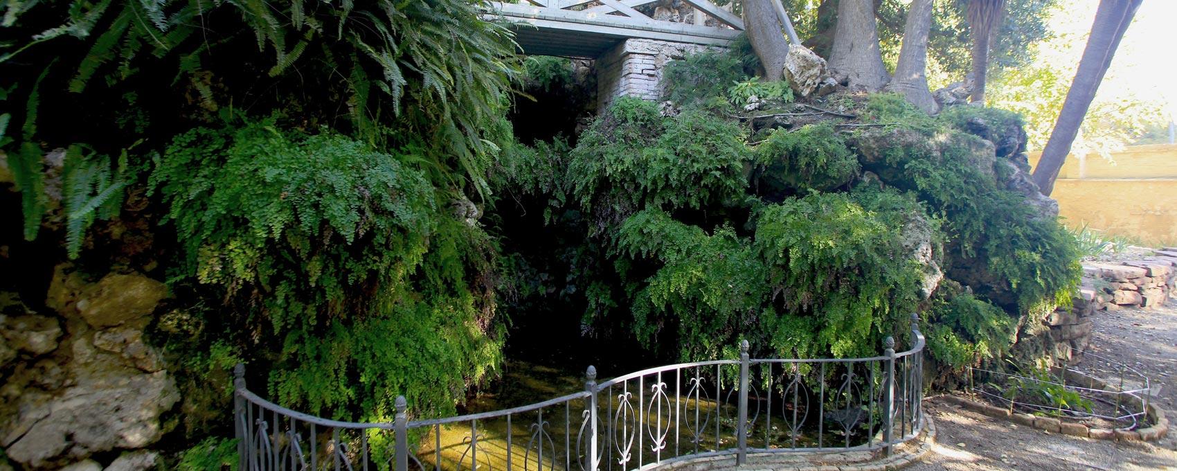 """A uno de los lados de """"la montañita"""" podemos ver un pequeño puente sobre una cascada rodeada de helechos."""